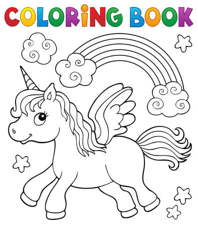 Coloring book stylized unicorn theme 2 - eps10 vector illustration.