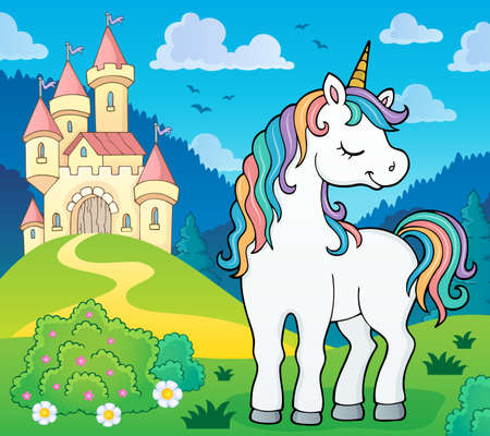 Dreaming unicorn theme image Illustration