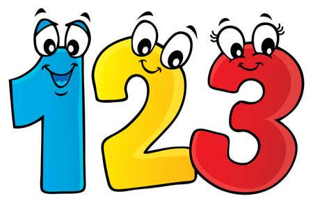 Imagen de tema de números de dibujos animados 1 - ilustración de vector de eps10.