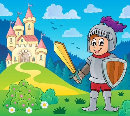 Knight near stylized castle theme illustration.