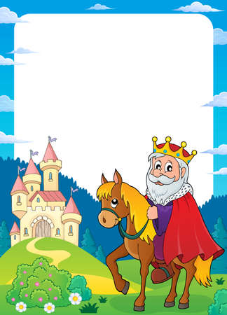 King on horse frame theme illustration. 向量圖像