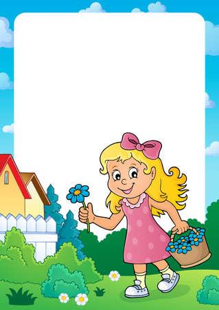 Girl with flower theme frame  illustration.