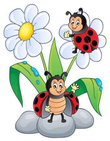 Flower and happy ladybugs theme image illustration. Vektorgrafik