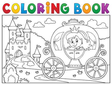 Illustrazione di vettore di immagine di carrozza della principessa del libro da colorare.