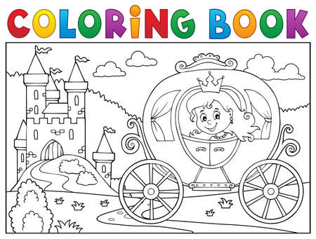 Ilustración de vector de imagen de carro de princesa de libro para colorear.