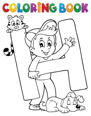 Coloring book boy and pets by letter H