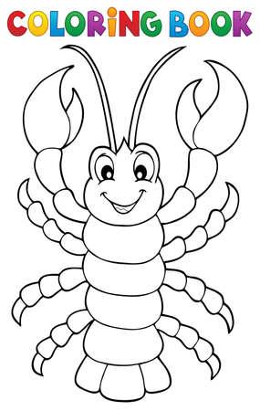 Coloring book cartoon lobster Stock Illustratie