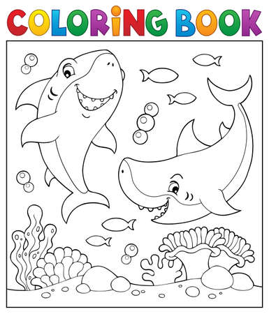 Coloring book sharks underwater