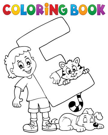 Coloring book boy and pets by letter E