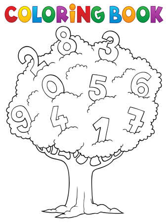 Coloring book tree with numbers