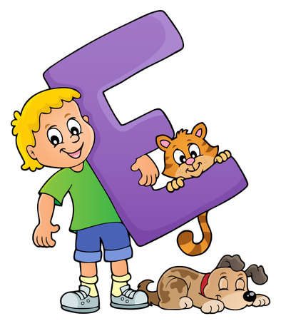 Boy and pets with letter E - eps10 vector illustration.