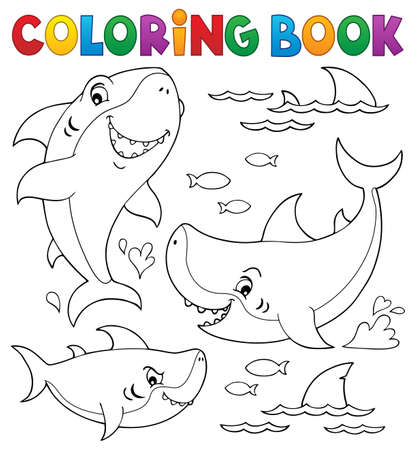 Coloring book shark 向量圖像