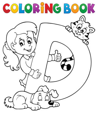 Coloring book girl and pets by letter D Illustration