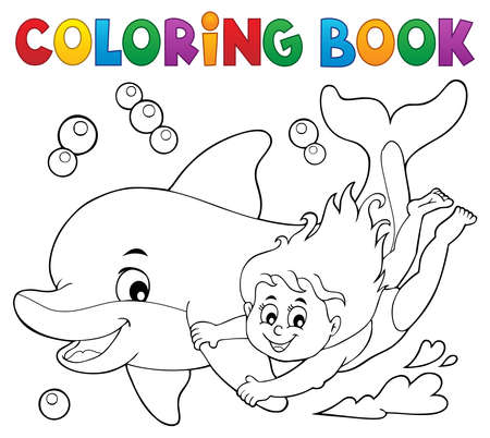 Coloring book girl and dolphin