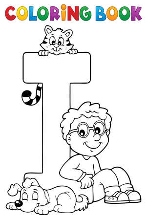 Coloring book boy and pets by letter I