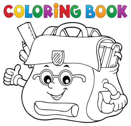 Coloring book happy schoolbag  vector illustration.