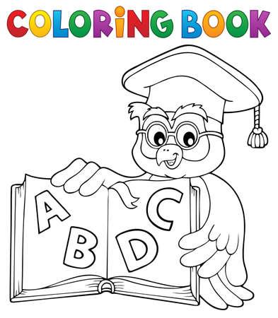 Coloring book owl teacher  vector illustration. Stock Illustratie