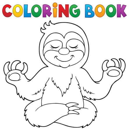 Coloring book happy sloth   vector illustration.
