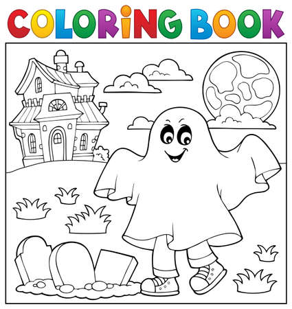 Coloring book boy in ghost costume  vector illustration.