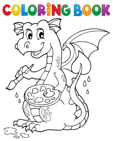 Coloring book painting dragon   vector illustration.