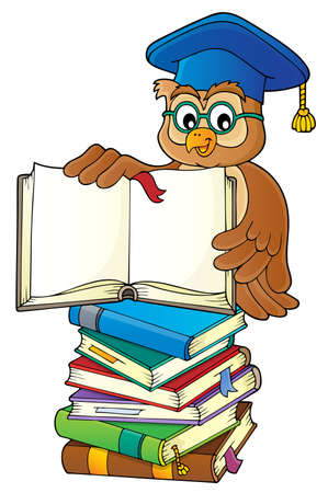 Owl teacher with open book theme image 3 - eps10 vector illustration.