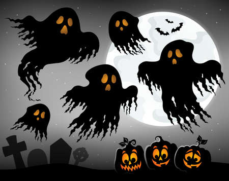 Halloween image with ghosts topic 1 - eps10 vector illustration.