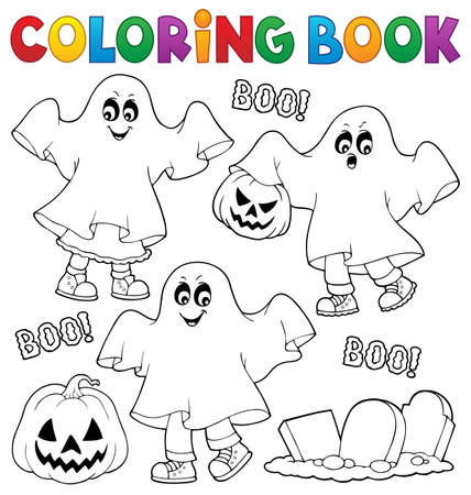 Coloring book kids in ghost costumes vector illustration.