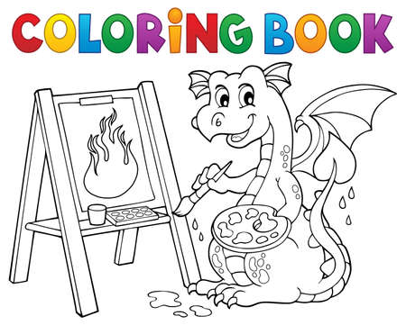 Coloring book painting dragon  vector illustration. 向量圖像