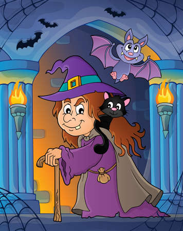 Witch with cat topic  vector illustration. Illustration