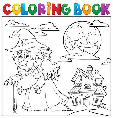 Coloring book witch with cat  vector illustration.