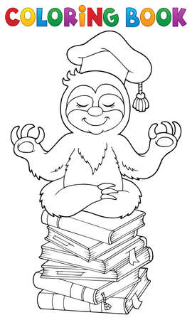 Coloring book sloth teacher vector illustration. 向量圖像