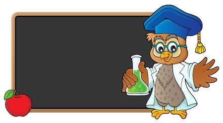 Profesor de búho con ilustración de vector de matraz químico.