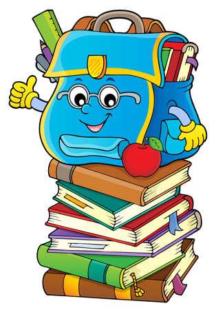 Happy schoolbag  vector illustration.