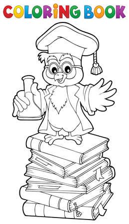 Coloring book chemistry owl teacher vector illustration.
