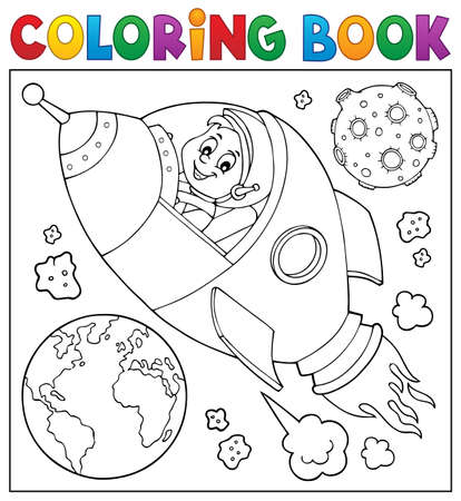 Coloring book space vector illustration.