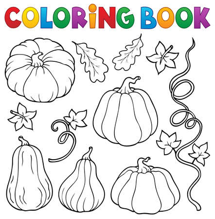 Coloring book pumpkins collection vector illustration. 向量圖像