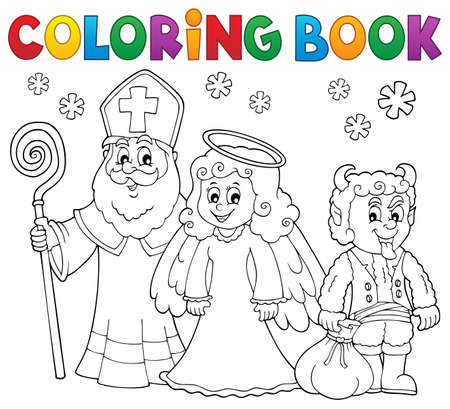 Coloring book Saint Nicholas Day theme  vector illustration.