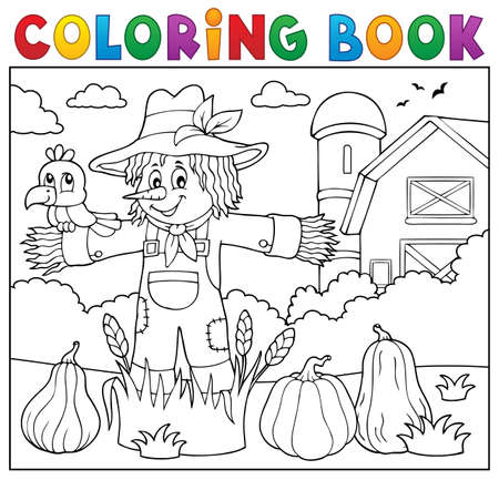 Coloring book scarecrow theme vector illustration.