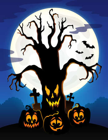 Spooky tree silhouette topic vector illustration. 向量圖像