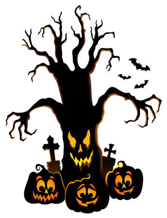 Spooky tree silhouette topic image vector illustration.