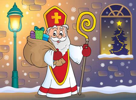 Saint Nicholas   vector illustration. Illustration