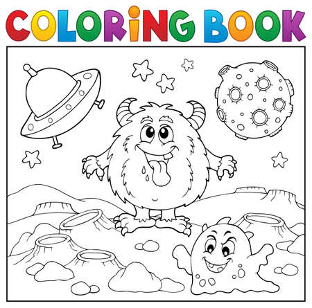 Coloring book monsters in space vector illustration.
