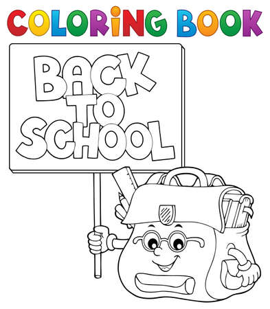 Coloring book schoolbag with sign vector illustration. 向量圖像