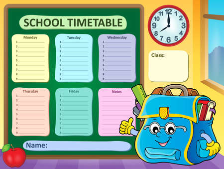 Weekly school timetable vector illustration.