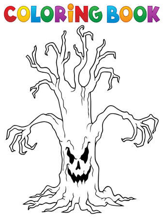 Coloring book spooky tree vector illustration.