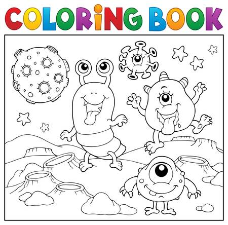 Coloring book monsters in space