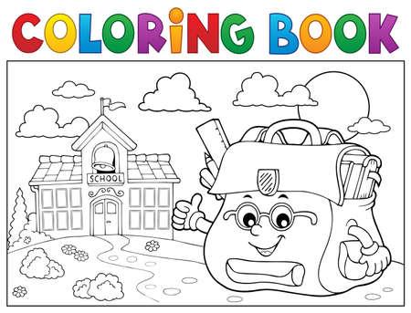 Coloring book happy schoolbag
