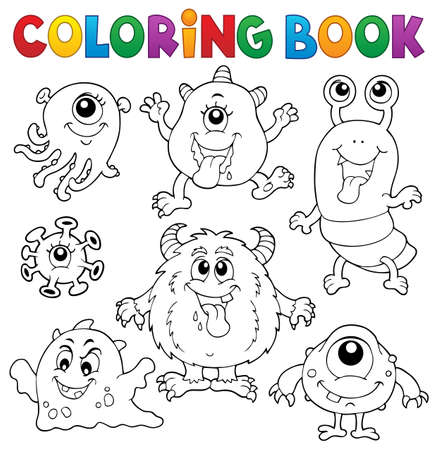Coloring book monsters   vector illustration. 向量圖像