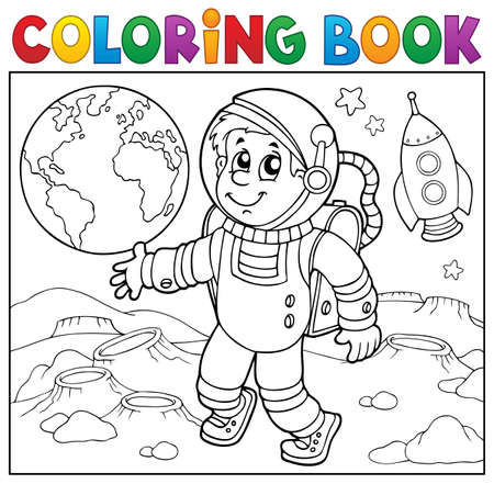 Coloring book astronaut   vector illustration.