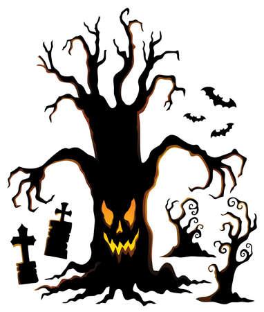 Spooky tree silhouette  vector illustration. Ilustração